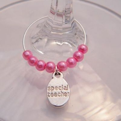 Special Teacher Wine Glass Charm - Beaded Style